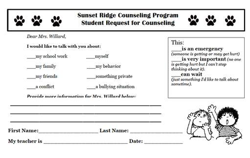 Beginning of the Year – Student Request Form